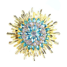 Wholesale Scarf South - Blue gemstone brooch rhinestone crystal gold alloy sunflower brooches pins Christmas pins clips dress scarf tie pin women charm jewelry
