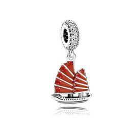 Wholesale Sail Pendant - Wholesale 10pcs Sailing Boat CZ Crystal Pendant Red Enamel Silver Charm European Charms Beads Fit Pandora Snake Chain Bracelet DIY Jewelry