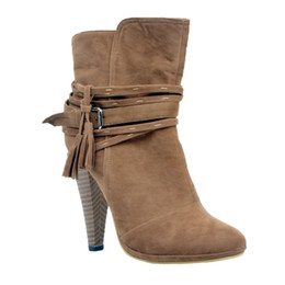 Wholesale Womens High Heels Booties - Zandina Womens Fashion Handmade Thick Heel Tassel Deco Party Office Ankle Booties Court Shoes Brown XD127