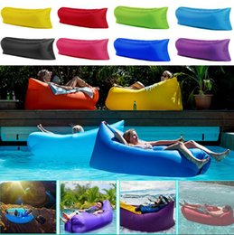 Wholesale Inflatable Sofa Air Sleeping Bags D Beach Lounger Hangout Couch Portable Camping Hiking Beds Lazy Outdoor Beach Lay Chair Hammock OOA2295