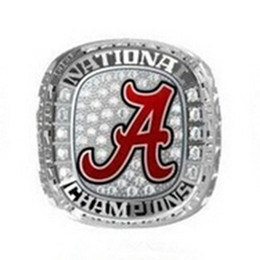 Wholesale Pave Ring Alloy - Free shipping Hot 2015 2016 Alabama Crimson Tide National Championship Ring Enamal Crystal Gold plated Ring Men jewelry size 11