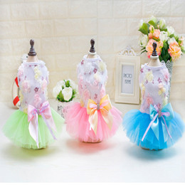 Wholesale Dog Flower Dresses - 2017 One Piece Set Flower Princess Best Spring And Summer Bowknot Shirts Sweatshirts T Shirts Dresses Vests Dog Costumes Flower Soap Dress