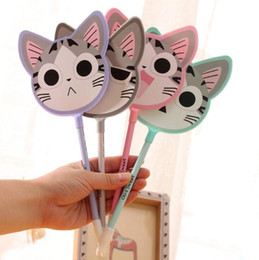 Wholesale Pen Fan - Cute Cartoon Cat Sprout Creative Fan Ballpoint Pens Wholesale Plastic Multicolor Korea Stationery G884