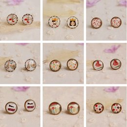 Wholesale Vintage Cherry Earring - 12pairs lot Mixed Vintage Jewelry Glass Cabochon Stud Earrings Post Earrings Stud for Girl Cherry Dots Flowers 12mm rd0002
