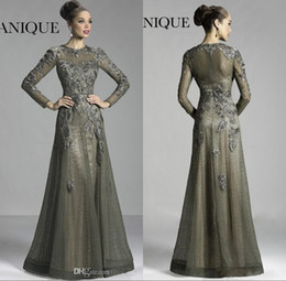 Wholesale Janique Pink - Janique Long Sleeves Mother of the Bride Groom Dresses Vintage Sheer Crew Neck Lace Flowers A-line Floor Length Evening Dress