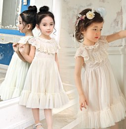 Wholesale korean lace formal dress - 2017 Summer Korean chirldren clothing children's skirt girls temperament princess long dress lace gauzy formal dress B4775