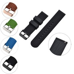 Wholesale 18mm Ring Width - Silicone Watch Bands, Classic Buckle Style with Two Band Rings, Fit for 18mm  20mm   22mm Width Watches, Tyer Lines Design, Black