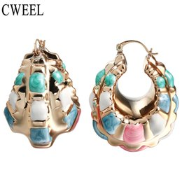 Wholesale Gold Beads Hoop Earrings - CWEEL New Fashion Indian Earrings Big Size Jewelry For Women Wholesale Gold Color Nigerian Wedding African Beads Hoop Earrings