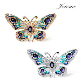 Wholesale Middle East Paintings - 100PCS Lot Free Shipping Women's Gold   Silver Plated Alloy Painted Crystal butterfly Brooch Insect Brooches Pin