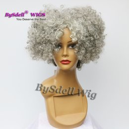 Wholesale Short Hair Wigs Fluffy Synthetic - Short Afro Fluffy Kinky Curly Hair Wig Synthetic Heat Resistant Granny Grey Color Deep Kinky Curly Hair Peluca Wigs free part Wig