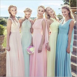 Wholesale Strapless Sleeve - 2017 Boho Bridesmaid Dresses A Line Strapless Cap Sleeve Floor Length Bridesmaid Gowns With Chiffon Convertible Wedding Party Dresses