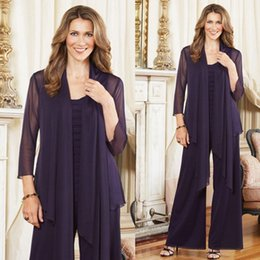 Wholesale Mother Groom Outfits - 2018 Plus Size Mother of the Bride Pant Suits with jacket Purple outfits Custom Made Chiffon Long Sleeve mother of the groom