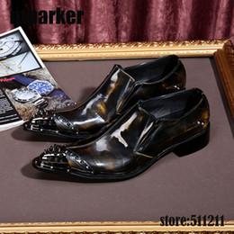 Wholesale Footwear Mens Formals - Men shoes luxury brand New wedding dress Bronze patent genuine leather oxford formal mens shoes high heels Footwear!