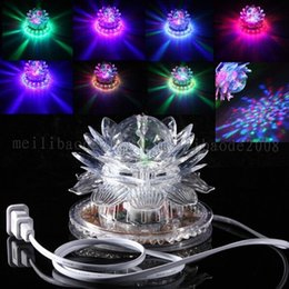 Wholesale led lotus crystal lamp - 2017 NEW Lotus Effect Light Auto Rotating 11W LED RGB Crystal Stage Light 51pcs Bead Lamp for Home Decoration DJ Disco Bar Best Gift MYY