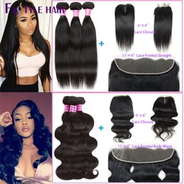 "Wholesale Human Hair Extensions Weft Ombre - Brazilian Straight, Body Wave Extension 3 Bundles with Lace Closure 4""x4"" or 13""x4"" Frontal Peruvian Cambodian Indian Virgin Human Hair Weft"