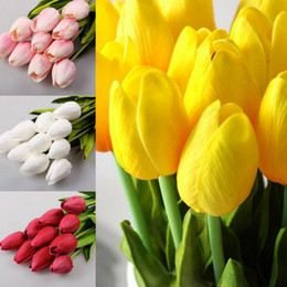 Wholesale Tulip Yellow Artificial - 50 pcs lot Tulip Artificial Flower PU Artificial bouquet Real touch flowers For Home Wedding decoratiom Supplies