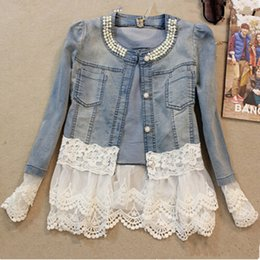 Wholesale Jean Jacket Beads - Wholesale- Fashion Beads O Neck Single Breasted Button Thin Lace Denim Jacket Long Sleeve Hollow Out Pockets Vintage Short Slim Blue Jean
