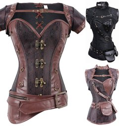Wholesale Color Leather Jackets Women - 2017 Sexy Women Retro Gothic Steel Boned Corset Steampunk Corsets and Bustiers Mit Jacket Women Leather Corpetes Espartilhos Tops