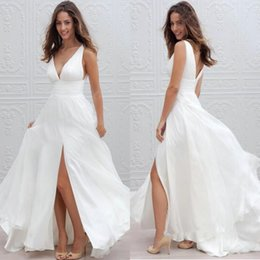 Wholesale V Neck Ruched Wedding Dress - 2017 New Summer Beach Boho Wedding Dresses A Line Sexy V Neck Split Long Chiffon Bridal Gowns Bohemian