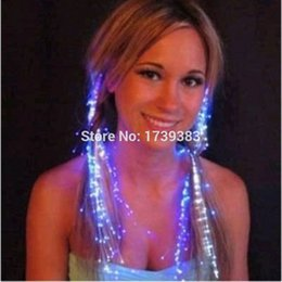 Wholesale Optical Light Glow Party - Wholesale- 10pcs lot Light Up Hair Extension Flash glowing LED Braid,Novelty Decoration for Party Holiday,Hair Extension by optical fiber