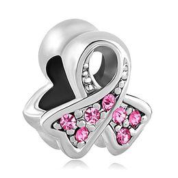 Wholesale Pandora Ribbon - Pink Ribbon Beads European Charm Beads fit Pandora Snake Chain Bracelets Jewelry Free shipping Charms 12 Colors Ribbon Beads
