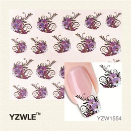 Wholesale feather nail decals - Wholesale- YZWLE 1 Sheet New Arrival Water Transfer Nail Art Stickers Decal Beauty Black Swan&Feather Design Manicure Tool