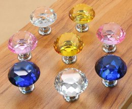 Wholesale Crystal Glass Door Handles - 30mm Crystal Glass Diamond Door Handles Home Kitchen Cabinet Cupboard Drawer Pulls Wardrobe Knobs Hardware