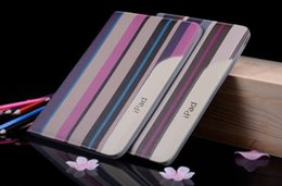 Wholesale Ipad Air Case Stripe - For ipad 4 3   air 5  6  Pro mini Flip Stripe Pattern Leather Smart Case Cover With Stand Holder Folding Folio For air2