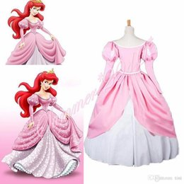 Wholesale Custom Made Mermaid Costume - Drop Shipping Movie The Little Mermaid Princess Ariel Pink Fluffy Party Fancy Dress Cosplay Costume Custom Made