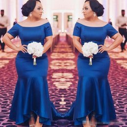 Wholesale Trumpet High Low Dresses - Royal Blue Plus Size Bridesmaid Dresses 2018 Satin Short Sleeves Mermaid Maid Of Honor Gowns High Low Wedding Guest Prom Party Dress