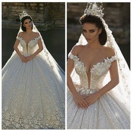 Wholesale Church Images - 2017 Off Shoulder Lace Appliques Ball Gown Wedding Dresses Sequined Bridal Gowns Chapel Train Formal Church Arabic Dubai Luxurious