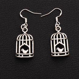 Candelabros jaula de pájaros online-Bird In Half Birdcage Pendientes 925 Silver Fish Ear Hook 30pairs / lot Antique Silver Dangle Chandelier E024 42.5x14mm
