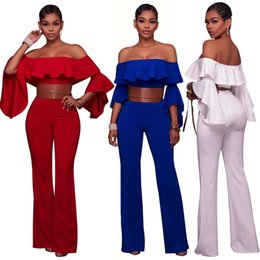 Wholesale Elegant Jumpsuits - Sexy Elegant One Piece Jumpsuit Ruffles Off Shoulder Butterfly Sleeve Loose Casual Bodysuit Women 2017 Summer Overalls cheap
