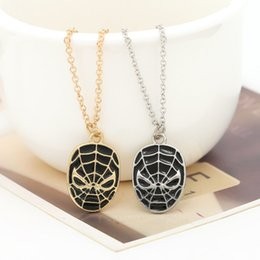 Wholesale Amazing Spiderman Mask - 2017 Ship Superhero Spider-man The Amazing Spiderman Mask Pendant Necklace Fashion Necklace for Men Wholesale and Retail