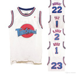 Wholesale Brown Movies - Space Jam Tune Squad Movie basketball Jersey Machael 1 3 Tweety ! Taz 1 Bugs 2 D.duck 6 James 10 Lola 22 Murray 23 Tordan 30 Curry Jerseys