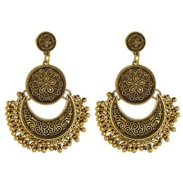 Wholesale Exotic Earrings - European and American fashion personality retro exotic carved exaggerated Tassel Earrings