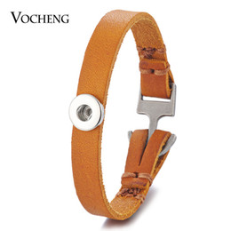 Wholesale Brass Anchor Charm - VOCHENG NOOSA Petite Ginger Snap Jewelry Thin Leather Bracelet Charms Fit 12mm Button Anchor Clasp 2 Colors NN-561