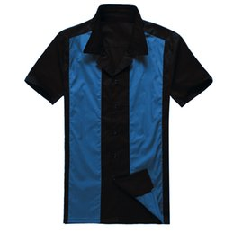 Wholesale Xs Clothing Online - Wholesale- Online Shopping Stores Uk Design Mens Casual Shirts Black Blue Rockabilly Fifties Clothing for Party Club
