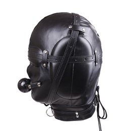 Wholesale Sm Ball For Mouth - 2017 New BDSM Bondage Mask With hollow Mouth Gag SM Totally Enclosed Hood Sex Slave Head Hood Sex Toys For Couples Sex product