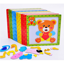 Wholesale Wholesale Wooden Frog - Wholesale-24 styles Baby Toys 3D Magnetic Puzzles Wooden Animals Puzzles Tangram Tiger Bear Frog Educational Toys for Kids