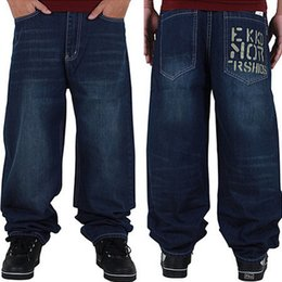 Wholesale Relaxing Lights - Wholesale- Graffiti letters Men Baggy Jeans Mens Hip Hop Jeans Long Loose fashion Skateboard Baggy Relaxed Fit Jeans Men Street dance Pants