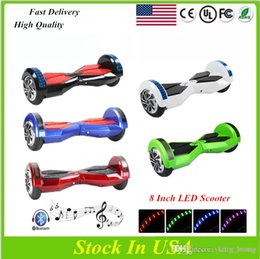 Wholesale Light Color Wheel - USA Warehouse UL 8 inch Bluetooth Hoverboard With Speaker LED Light Electric Scooter Self Balancing LED Scooter Mix color Fast Drop Shipping