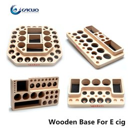 Wholesale Holder For E Cigarette - Vpdam Wooden Display Stand Base For Clearomizer Atomizer RDA RBA 510 Ego Wooden Base e cigarettes holder E cig Showcase Shelf Holder
