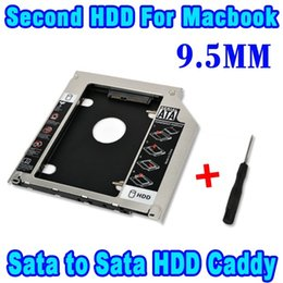 "Wholesale Sata Macbook Caddy - Wholesale- 2014 Aluminum 2nd HDD Caddy 9.5mm 2.5"" SATA II III SSD Case HDD Enclosure for MacBook Pro Unibody 13"" 15"" 17"" SuperDrive Tray"