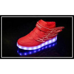Wholesale Dance Sneakers Shoes Color - Hot 2016 4 color Wings Led children's shoes Kids Boys Girls LED Light Up Sneakers Athletic Wings High Shoe Dance Boot Sneakers