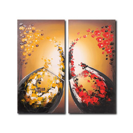 Wholesale Canvas Paintings Wine Glasses - Flower Oil Painting Wine Glass Canvas Painting 2 Panel Modern Art Wall Decoration Wood Frame Inside Ready to Hang