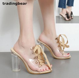 Wholesale Women Heel Slippers For Party - Newest dress sandals for women summer shoes lace up PVC transparent chunky high heels slipper 2 colors size 35 to 40