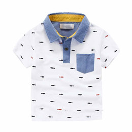 Wholesale Wholesale Cotton Fishing Shirts - Everweekend Boys Summer Western Fashion T Shirts Fish Embroidered Tees Lapel Neckline White Tops Children Cotton Blouse