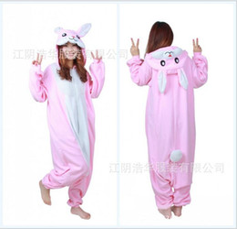 Wholesale Flannel Pajamas Movie - Modest Pink Unisex Adult Home Rabbit Pajamas Kigurumi Cosplay Costume Onesie 2017 Cartoon Flannel Annimal Onesie Sleepwear Stock Cheap