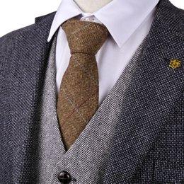 Wholesale Neck Ties 7cm - H39 Checked Herringbone Tweed Brown Tan 7cm Mens Ties Neckties Wool Fashion Wholesale New Casual Formal Business Free Shipping